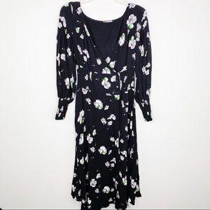 Free People Black Floral Dress S/M